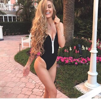 swimwear aspen bikini zip up summer black suit beach