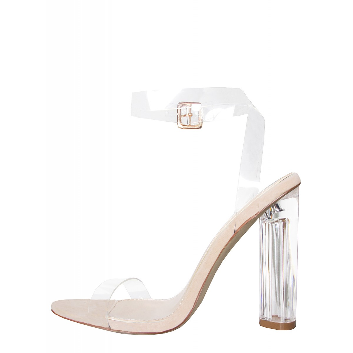 7bf4c0ceb341bb Anastasia Nude Suede Perspex Black Barely There Heels   Simmi Shoes