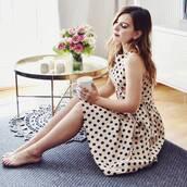 dress,french girl,midi dress,a line dress,polka dots,sleeveless,sleeveless dress