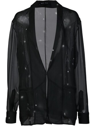 blazer sheer women black silk jacket