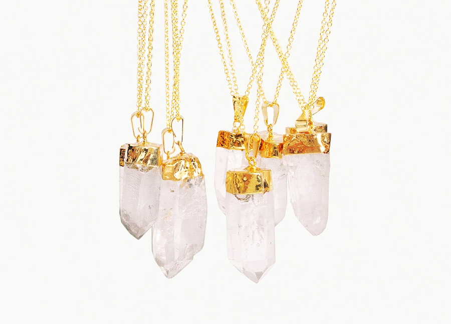 GODDESS Gold Crystal Quartz Necklace | Crystal Cactus
