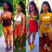 top,puma,yellow,crop tops,bralette,shoes,glasses,fila,adidas shoes,hoop earrings,shorts,sandals,skirt