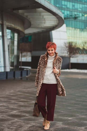 gvozdishe blogger coat sweater bag pants shoes fur coat animal print winter outfits turtleneck sweater burgundy pants printed fur coat