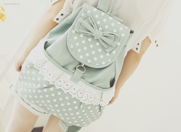 bag lace bow backpack polka dots