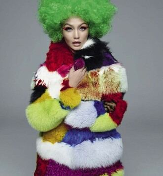 coat fur fur coat colorful gigi hadid editorial