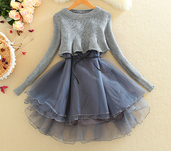 Dress grey cute puffy girly fashion winter outfits fall outfits style party knitwear ...