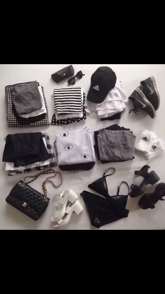 top chanel everything black crop top eyes bag triangl swimwear black heels white high heels sweater pants skirt