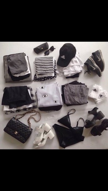 top eyes bag triangl black heels white high heels sweater pants skirt shirt stripes striped shirt black shirt white t-shirt black and white shirt grunge top grunge t-shirt grunge crop top black top black t-shirt black skirt white crop tops white shirt t-shirt shirt tumblr tumblr clothes