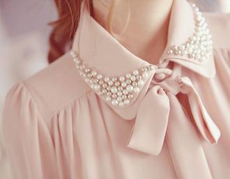 pink blouse cute pearl bows pale pink rose beautifull romantic
