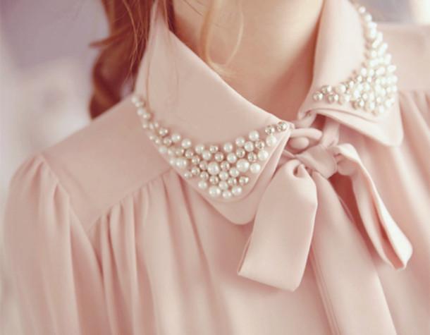 Blouse Pearl Pearl Bow Light Pink Pink Rose Cute Beautifull