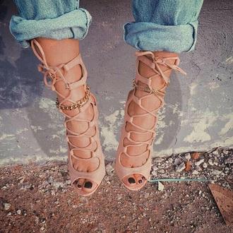 shoes tan brown beige heels high heels summer style casual cute high heels cream high heels strappy heels nude and gold nude pumps nude heels
