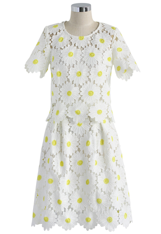 dress floral daisy skirt set crochet