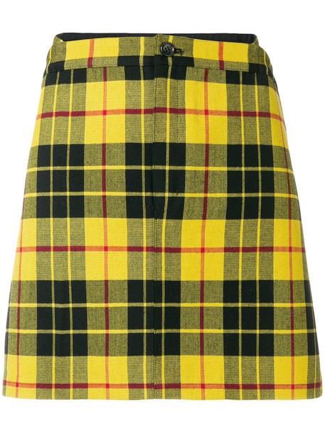 JUNYA WATANABE COMME DES GARÇONS skirt mini skirt mini women cotton wool yellow orange tartan