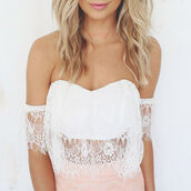 top,white,crop tops,lace,off the shoulder,sweetheart neckline,sexy