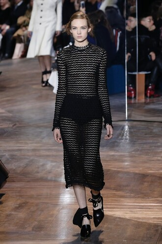 dress haute couture pumps fashion week 2016 runway see through dress mesh sheer long sleeve dress midi dress all black everything black dress dior bow shoes