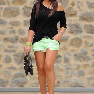 shorts green shorts black blouse black bag shirt