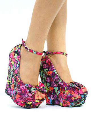 LADIES PLATFORM PEEP TOE WEDGE HIGH HEEL BOW WEDGES SHOES SANDALS ...