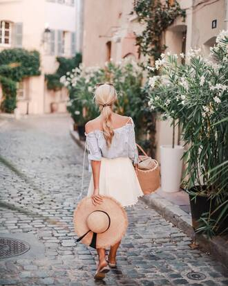top tumblr blue top off the shoulder off the shoulder top bag hat sun hat straw hat skirt mini skirt white skirt