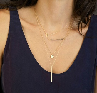 jewels layered layered necklace layered necklaces gold gold jewelry gold necklace simple necklace triangle stacked jewelry staple item