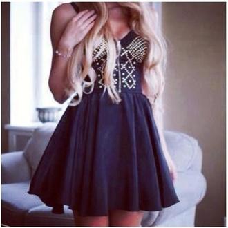 dress little black dress studs sweetheart dress short dress zip