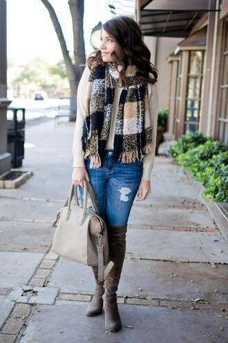 champagne&citylights blogger sweater jeans shoes scarf bag fall outfits handbag boots over the knee boots