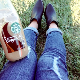 jeans skinny jeans blue skinny jeans starbucks coffee black boots leather boots lovely pepa casual