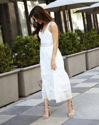 dress tumblr midi dress white dress lace dress white lace romper summer summer dress sandals sandal heels high heel sandals nude sandals shoes