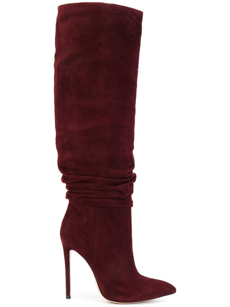 women leather suede red shoes