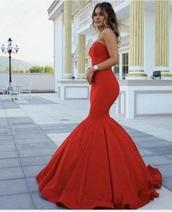 dress,red dress,prom dress,prom,red prom dress,gown,red,fishtail dress,long,mermaid