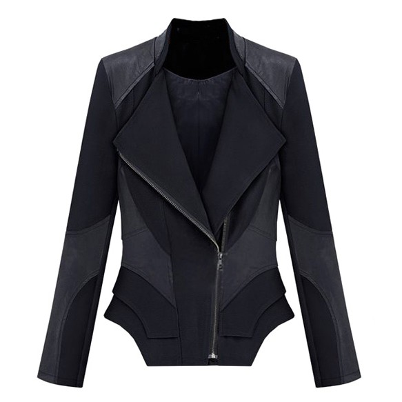 Structured Jacket With Leather Panels And Layered Hem