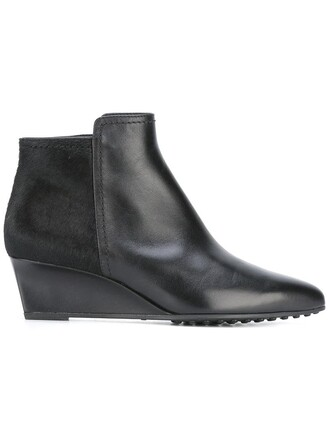 fur women boots ankle boots leather black shoes