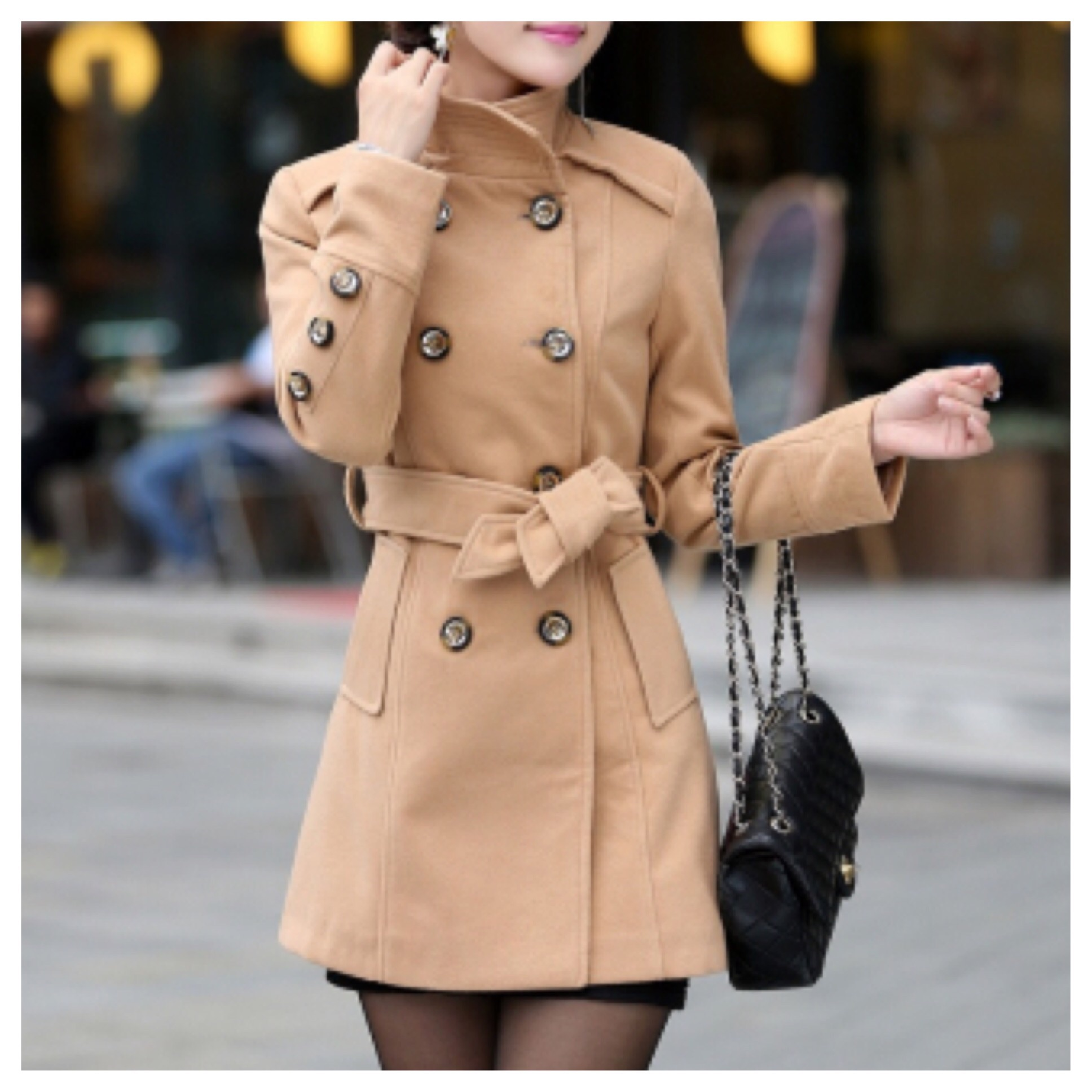 Tan belted high collar wool jacket