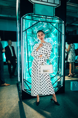 not jess fashion blogger dress shoes bag maxi dress polka dots dior bag slingbacks