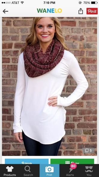 scarf maroon scarf burgundy fall outfits knitted scarf white blonde hair shirt