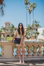shoes,flat sandals,mini skirt,crossbody bag,sunglasses,necklace,cream