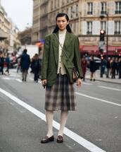 jacket,blazer,check blazer,shoes,tights,midi skirt,pleated skirt,turtleneck,crossbody bag