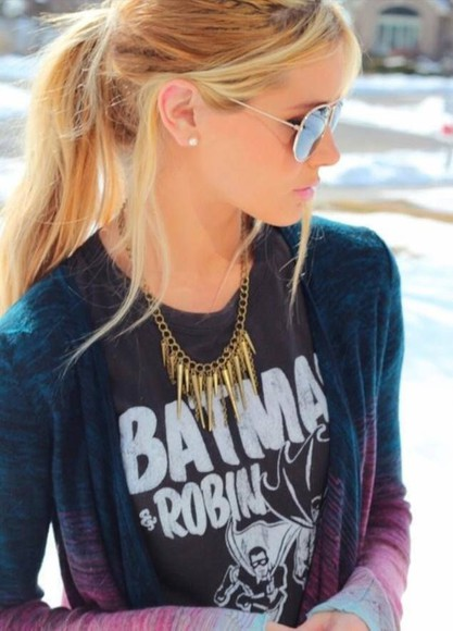 spikes gold pink white knitwear cardigan black coat knitted cardigan blue purple grey dip dyed batman batman shirt black and white t-shirt jewels necklace sunglasses jacket