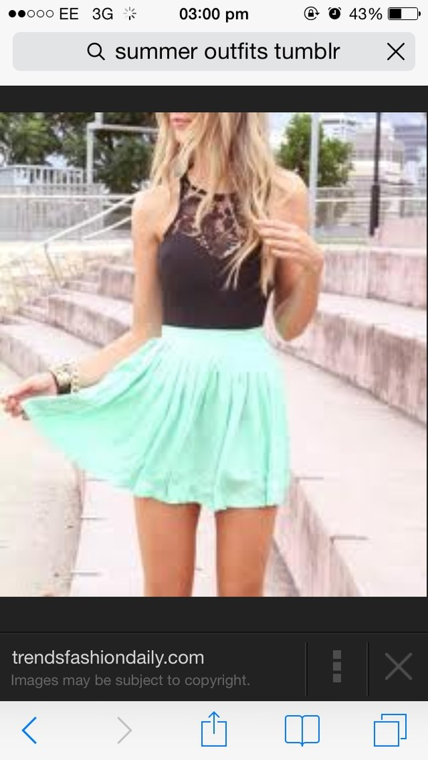 skirt green summer mint blouse