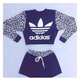 top adidas long sleeved shorts black and white branded shorts and jumper long sleeved crop top shorts and sweater