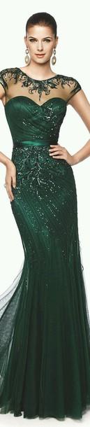 dress emerald green gown evening dress sparkle