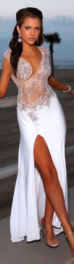 100% handmade beaded appliques sexy split long prom dresses white sheer party gowns vestidos formatura 2015 longos