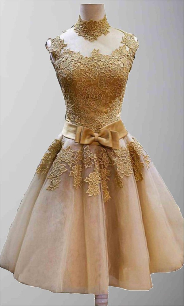 prom gown short prom dress vintage dress golden prom dress high nckline homecoming dress lace dress embroidery wedding dresses