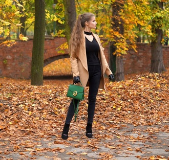 only my fashion style blogger coat bag gloves shoes fall outfits green bag black pants leather gloves beige coat