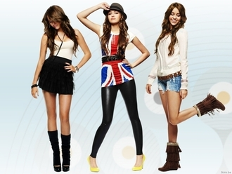 skirt miley cyrus socks boots shorts shirt sweater hat belt heels t-shirt