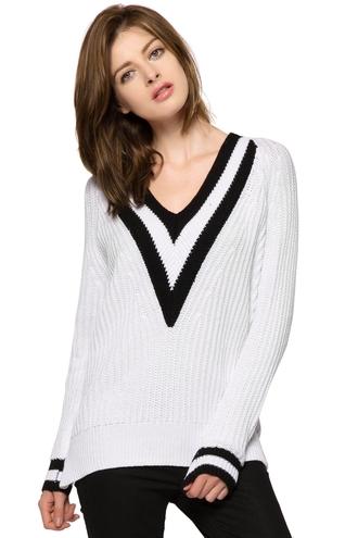 sweater deep v black and white warm winter sweater fashion zaful