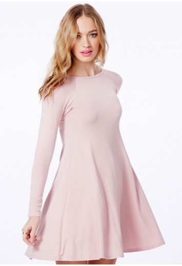 Mikita Long Sleeve Swing Dress - Dresses - Swing Dresses - Missguided