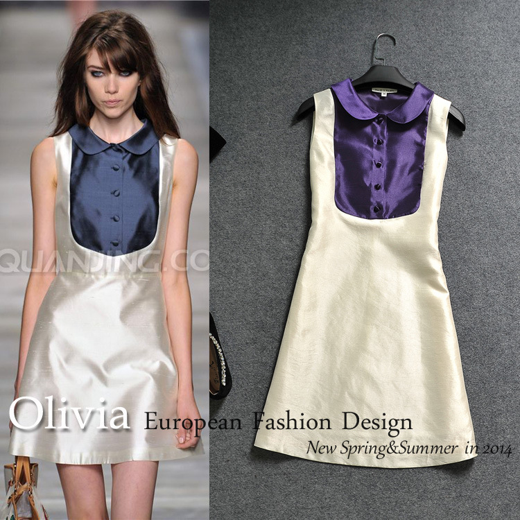New European 2014 summer runway brand women's high quality silk dress street storm sleeveless turn down collar vintage dresses-in Dresses from Apparel & Accessories on Aliexpress.com | Alibaba Group