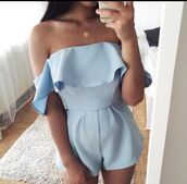 jumpsuit,skort playsuit,playsuit short,cute playsuits,blue jumpsuit,light blue,blue,babyblue dress,baby blue,elegant,classy,sweet,summer,summer dress,summer outfits,summer shorts,summer top,summer holidays,summer accessories,summer beauty,necklace,statement necklace,gold necklace,diamond necklace,boho necklace,gold