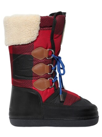 snow boots plaid snow boots leather black red shoes