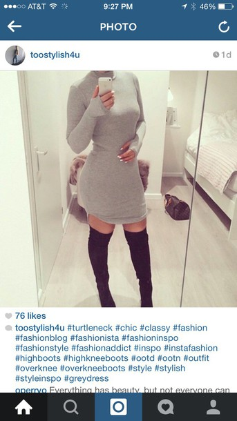 dress finger holes halter neck grey dress sweater dress